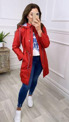 Red rain jacket, women's rain jacket, waterproof jacket, bright red jacket, women's outerwear
