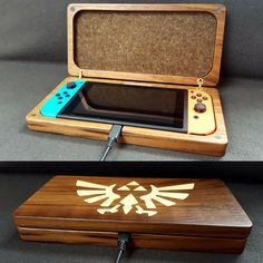 Nintendo Switch console case made of wood. Nintendo 3ds, Nintendo Switch Case, Mundo Dos Games, Nintendo Switch Accessories, Gaming Room Setup, Game Room Design, Game Room Decor, Gamer Room, 3d Prints