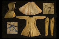 Complete Medieval outfit dating from 1350-1370, found on Boksten Man bog body in Sweden.