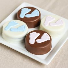 Snack on these sweet baby feet chocolate covered oreos!