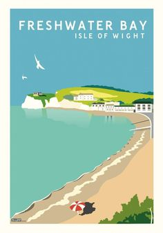 Freshwater Bay, Isle of Wight Vintage Style Travel Poster Posters Uk, Railway Posters, Beach Posters, British Travel, British Seaside, Vintage Travel Posters, Vintage Ads, Vintage Style, Vintage Crafts