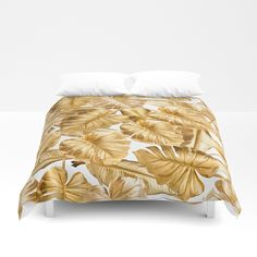 Buy Gold Leaves Aloha Tropical Foliage Pattern Duvet Cover by originalaufnahme. Worldwide shipping available at Society6.com. Just one of millions of high quality products available.