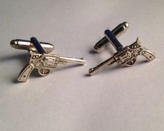 Men's Pair of Silver Shotgun Wedding Cufflinks / by Lynx2Cuffs, $21.99