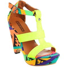 Fiebiger Shoes Neon Yellow Bananarama ($73) ❤ liked on Polyvore
