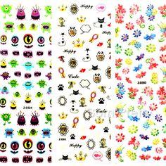 1,59 $ 1 Ficha prego Blooming Flowers 3D Arte Adesivos Insetos Art Nail decalques das etiquetas - BornPrettyStore.com