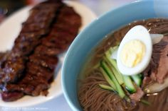 Korean American Mommy: Korean Cold Beef Arrowroot Noodle Soup, Mool Naeng Myun (칡냉면) & A Surprise Pairing Korean Barbeque, Korean Beef, Korean Food, Spicy Recipes, Asian Recipes, Cooking Recipes, Ethnic Recipes, Asian Foods, Cold Noodles
