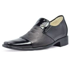 Black  high heeled shoes for men 7cm / 2.75inch with the SKU:MENJGL_4028 - Real Leather Height Increase formal elevator Shoes Men 7cm/2.75inch taller shoes
