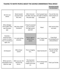 """""""Talking to White People about the Zimmerman Trial Bingo"""""""