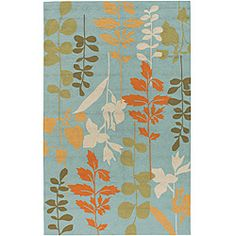 For the baby's room- @Overstock - This outdoor rug features a looped texture and medium pile. Shades of green, rust and ivory accent this floral print rug.http://www.overstock.com/Home-Garden/Hand-hooked-Bliss-Pale-Blue-Rug-3-x-5/5608141/product.html?CID=214117 $54.89