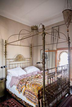 Unique, vintage-inspired bed frame.   http://domino.com