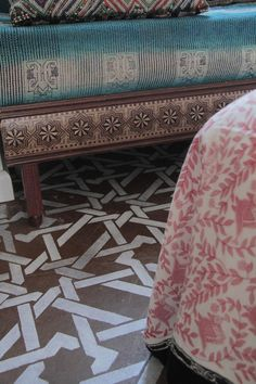 Wall Ceiling Floor Stencil Camel Bone Weave by royaldesignstencils - we could do something similar to this to pretty up the veranda!