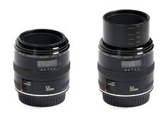 Canon EF 50mm f/2.5 - Macro prime lens with extension system for focusing