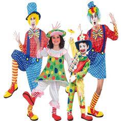 DisfracesMimo, disfraz de familia y grupo de payaso coloridos.Todos los disfraces de payaso estan confeccionado en colores llamativos.Este disfraz es ideal para tus fiestas temáticas de disfraces de payasos del circo,bufones y arlequines para familias y grupos.