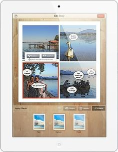 Aplicación para crear cómics con nuestras fotos. podemos trabajar los pasados, las descripciones o los comparativos. Más información en http://educaglobal.es/2013/10/story-me-app/