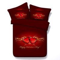 Luxury Romantic Red Heart Print 4-Piece Duvet Cover Sets Bed linen 100% Cotton 3D Bedding Sets Twin Queen King Super king size