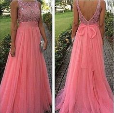 Pink Long Sexy Modest Open Back Beading Prom Dress