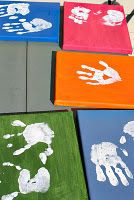 make your own handprint canvas...kids party game idea