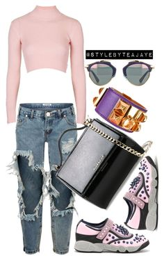 """""""Untitled #2214"""" by stylebyteajaye ❤ liked on Polyvore featuring Topshop, One Teaspoon, Christian Dior, Givenchy, Hermès, women's clothing, women, female, woman and misses"""