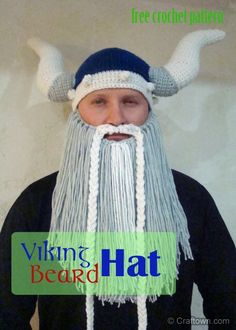 I like the basic hat but the horns are too large and I'm not crazy about the beard - Free Crochet Pattern - Viking Beard Hat!