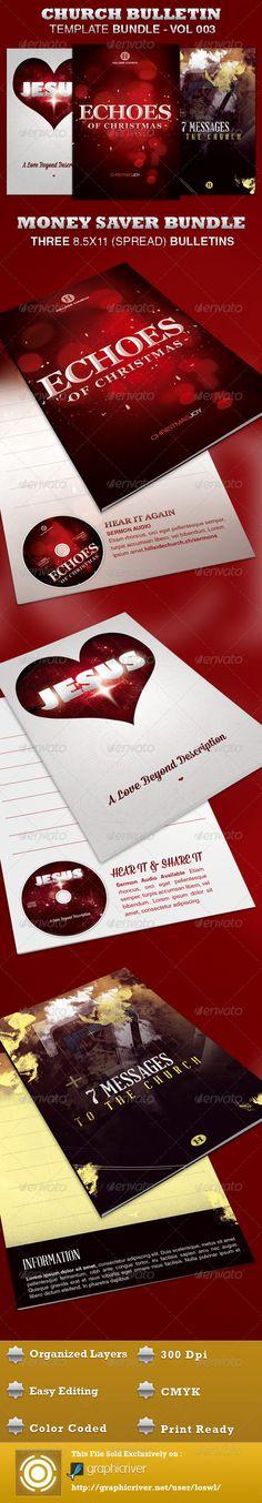 Church Bulletin Template Bundle-Vol 003 - $11.00