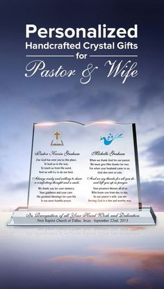 Personalized crystal gifts for pastor & wife. You can always add personal messages onto the Optical Crystals. Pastor Appreciation Poems, Appreciation Message, Nurse Appreciation Gifts, Gifts For Pastors, Pastors Wife, Gifts For Wife, Pastor Anniversary, Church Activities, Sunday School Crafts