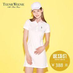 Teenie Weenie 베어 2017 여름 캐주얼 면화 캐주얼 POLO 칼라 드레스 TTOM72661K