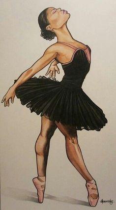 I always wanted to be a ballerina. Black Girl Art, Black Women Art, Black Girl Magic, Art Girl, African American Art, African Art, Black Dancers, Drawings Of Black Girls, Natural Hair Art