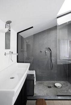 Afbeeldingsresultaat voor badkamer betonlook hout