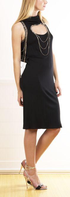Jean Paul Gaultier Black Mini Dress with Rhinestone Draping <3