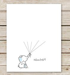 Free Elephant Baby Shower Guest Book Printable-blue or pink. And you… Free Elephant Baby Shower Guest Book Printable-blue