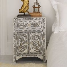 Grey & Mother of Pearl Inlay Bedside Table - something like this would work in the spare room if go with Moroccan-esque theme...