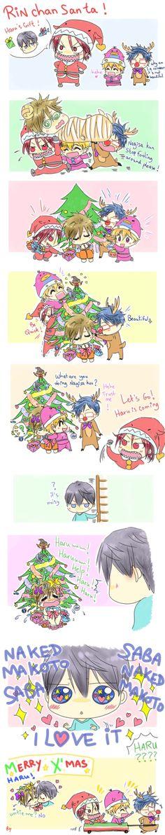 Merry X'mas with Rin-chan-san-ta ...  Drawn by racyue  ... Free! - Iwatobi Swim Club, haruka nanase, rin matsuoka, haru nanase, rin, haru, free!, iwatobi, makoto tachibana, nagisa hazuki, makoto, nagisa, tachibana, hazuki, rei ryugazaki, rei, ryugazaki