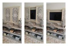 Living room tv wall ideas design hidden tv Ideas for 2019 Living Room Shelves, Living Room Tv, Home And Living, Tv Wall Ideas Living Room, Tv Escondida, Tv Wall Cabinets, Ruang Tv, Diy Casa, Tv In Bedroom