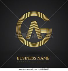 Letter AG or GA linked logo design circle G shape. Elegant gold colored letter symbol. Vector logo design template elements for company identity
