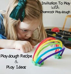 Invitation To Play With Shamrock Playdough — Yoga Pants & Pearls Fun Crafts For Kids, Preschool Crafts, Activities For Kids, Fitness Accessories, Workout Accessories, Silicone Cupcake Liners, Rainbow Invitations, Homemade Playdough