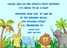 Jungle Birthday Party Invitations