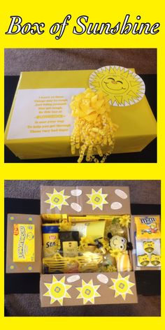 A box of sunshine I created for a friend who is recovering from surgery. - A box of sunshine I created for a friend who is recovering from surgery. It definitely brightened - Mothers Day Crafts For Kids, Diy Mothers Day Gifts, Diy For Kids, Diy Christmas Gifts For Mom From Daughter, Diy Mother's Day Crafts, Mother's Day Diy, Diy Birthday, Birthday Gifts, Craft Gifts