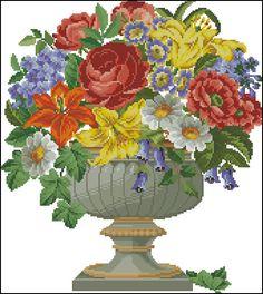 """""""Pot-pourri of Flowers"""" Cross Stitch Bird, Cross Stitch Flowers, Cross Stitching, Cross Stitch Embroidery, Cross Stitch Patterns, Flower Canvas, Canvas Designs, Christmas Cross, Flower Designs"""