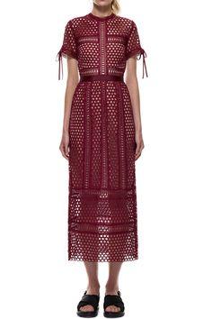 $342.00 Self Portrait Panelled Column Midi Dress in Burgandy
