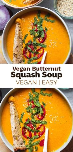 This vegan spicy butternut squash soup is hearty, cosy, and made with lots of vegetables like roasted butternut squash and carrots. Perfect for a cosy dinner with a slice of crusty bread! Gluten-free, ready in under 45 minutes. #soup #vegansoup #vegandinner #comfortfood Easy Vegan Soup, Autumn Recipes Vegetarian, Easy Vegan Dinner, Vegan Lunch Recipes, Healthy Soup Recipes, Whole Food Recipes, Vegan Soups, Curry Recipes, Vegan Dinners