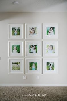 Square frames from Ikea. A beautiful wall display by http://taliaaudenart.blogspot.com/2011/01/my-photo-wall.html