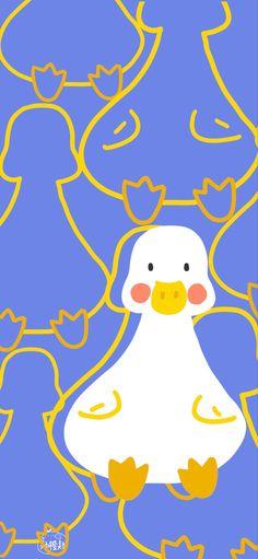Duck Wallpaper, Kawaii Wallpaper, Animal Wallpaper, Wallpaper Iphone Cute, Colorful Wallpaper, Girl Wallpaper, Aesthetic Iphone Wallpaper, Wallpaper Backgrounds, Aesthetic Wallpapers