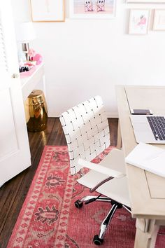 Create A Functional Workstation | Chic & Functional Office Decor | Great Office Chair | Vintage Rug | White + Bright Office Space