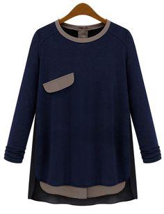 Navy Long Sleeve Contrast Black Asymmetrical T-Shirt EUR€26.57