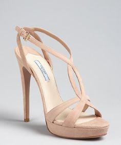 Shoe candy -- Grace Ormonde Wedding Style    Prada:  nude suede cutout platform sandals