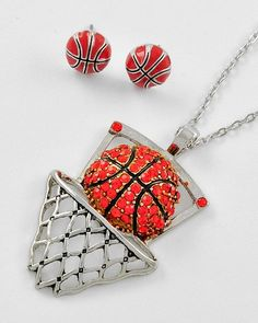 Crustaceans Designs Jewelry (Sets) - Basketball Lovers Necklace & Earrings $16.00 http://www.crustaceansdesigns.com/basketball-lovers-necklace-bracelet/