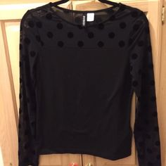 H&M mesh Polka Dot top Worn once Mesh Polka dot top from H&M. Women's size S! NO trades. Feel free to shoot me an offer! H&M Tops Tees - Long Sleeve