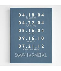 Personalized Couples Key Dates Wall Art #anniversary #gifts
