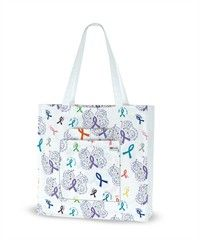 Purple Butterfly White Printed Tote Bag