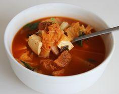 Kimchi soup (Kimchi-guk) by maangchi #Soup #Kimchi #Tofu